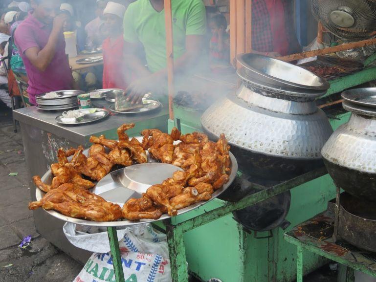 Chicken kebabs in Nizamuddin Basti Delhi