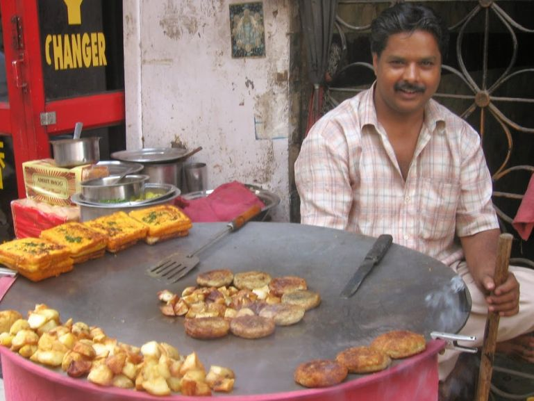 Street food in Chandni Chowk Delhi.