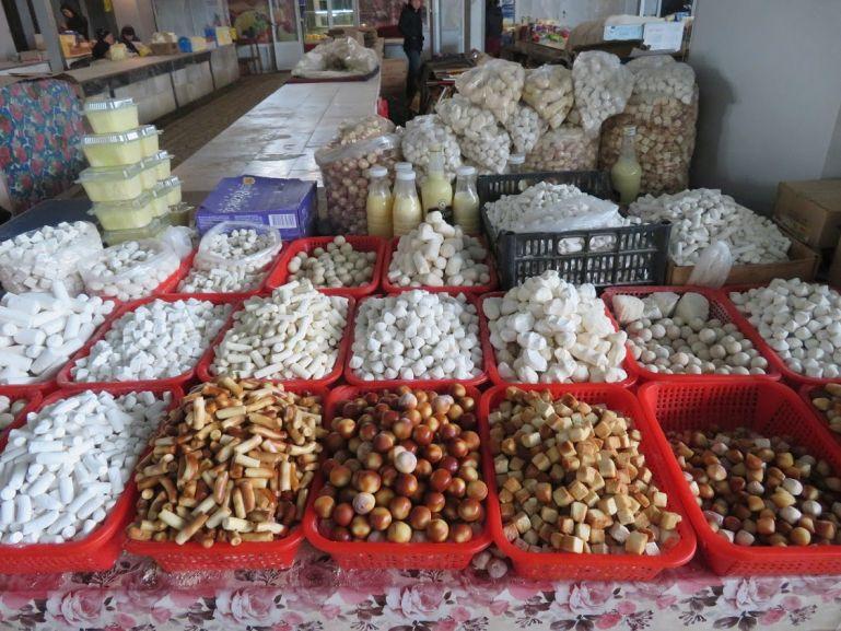 Kurut at a tajik bazaar