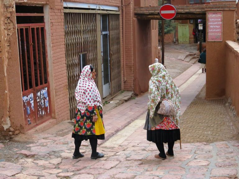 Abyanaki women wearing traditional clothes in Abyaneh Iran