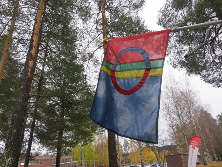 Sami flag in Jokkmokk Sweden