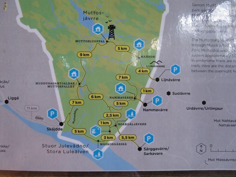 Muddus National Park hiking map