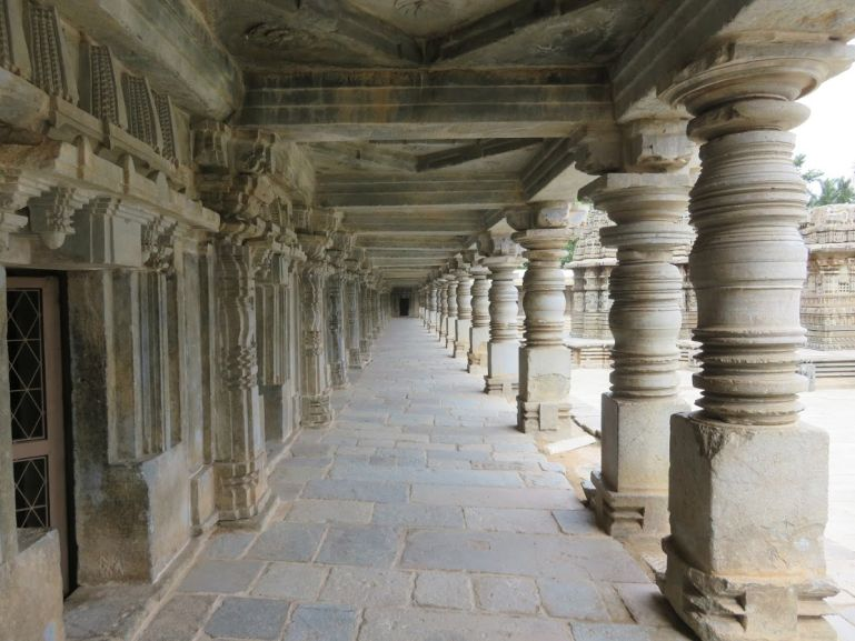 Pillared corridors of Somnathpur temple in Karnataka India