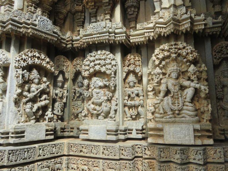 Hindu gods and godesses reliefs at Somnathpur temple in Karnataka India