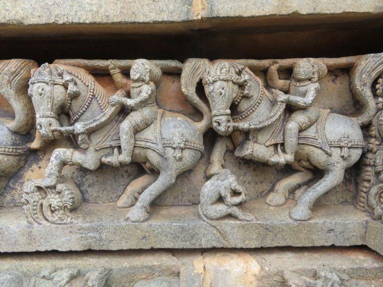 Horse warrior carvings at Somnathpur temple in Karnataka India