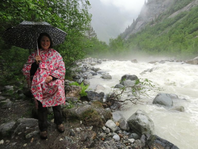 Hiking to the Chalaadi glacier in the rain