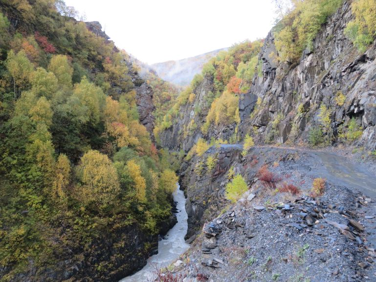 The road from Mestia to Ushguli Svaneti